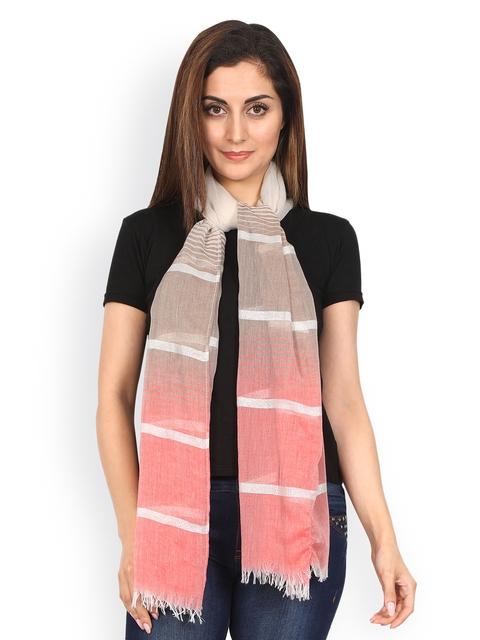 FabSeasons Peach-Coloured & White Striped Scarf