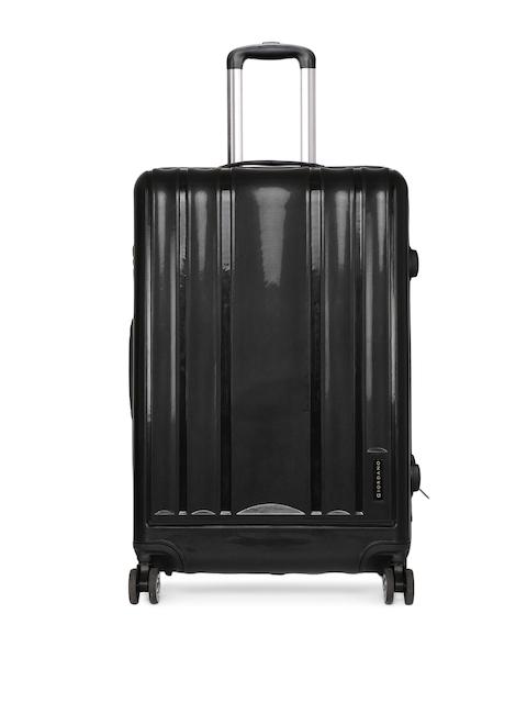 GIORDANO Unisex Black Textured Trolley Suitcase