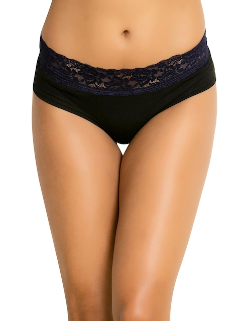 Zivame Women Black Mid-Rise Lace Hipster Briefs ZI2208FASHBLACK
