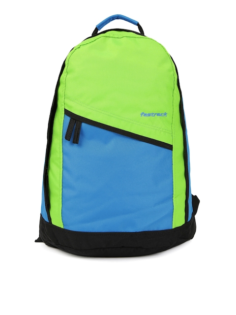 Fastrack Men Blue & Green Colourblocked Backpack