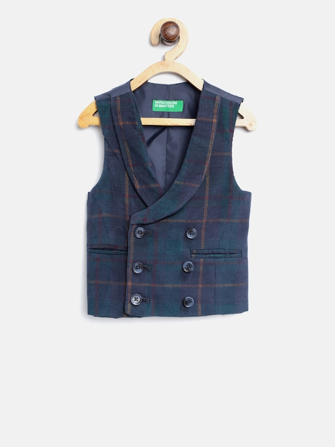 United Colors of Benetton Boys Navy Blue & Green Checked Waistcoat