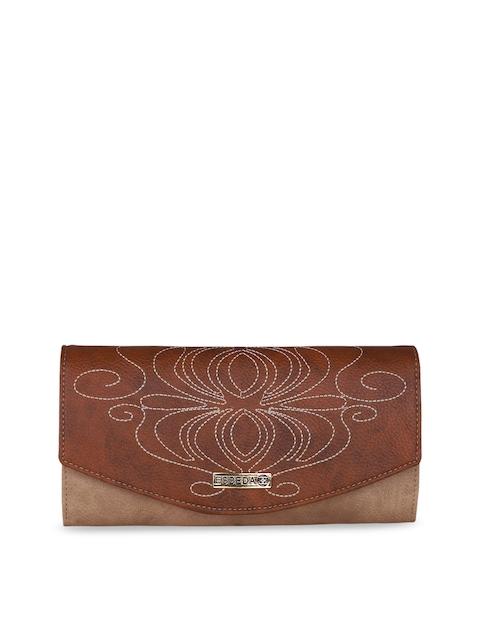 ESBEDA Women Beige & Brown Colourblocked Two Fold Wallet