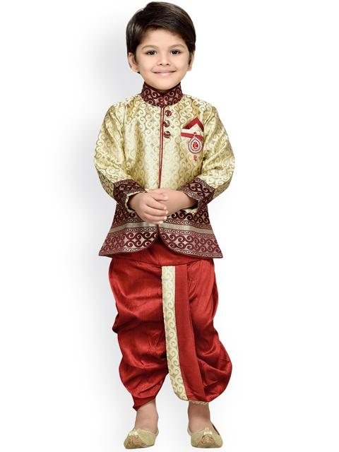 Aj DEZInES Boys Beige & Maroon Indo Western Kurta Dhoti Set