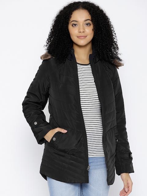 Trufit Women Black Hooded Insulator Parka Jacket