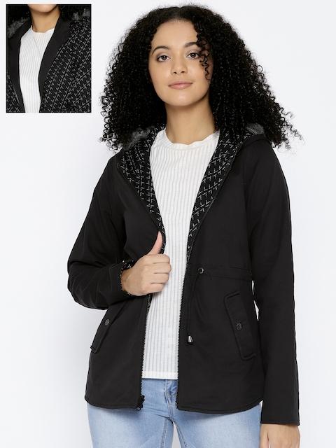 Trufit Women Black Solid Hooded Reversible Parka Jacket