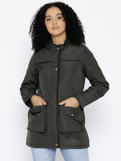 Trufit Women Olive Green Solid Hooded Insulator Parka Jacket
