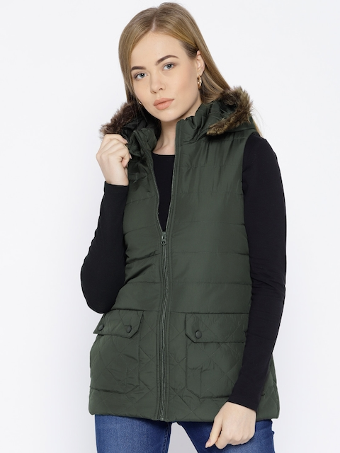 Trufit Women Olive Green Solid Hooded Parka Jacket