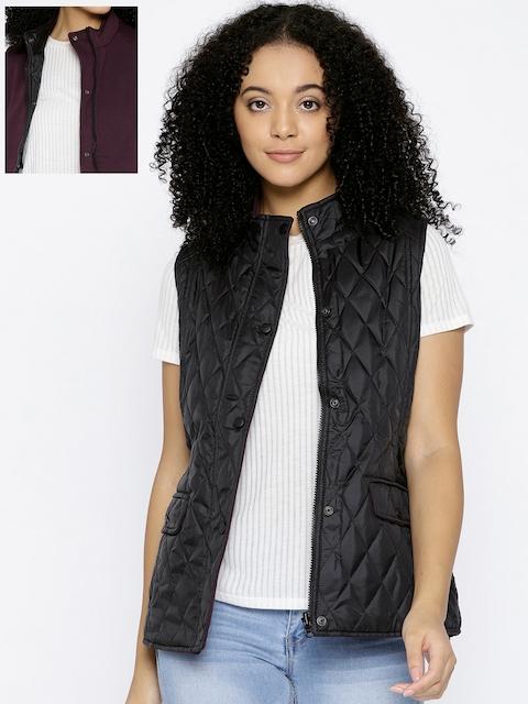 Trufit Women Black & Burgundy Solid Reversible Quilted Jacket