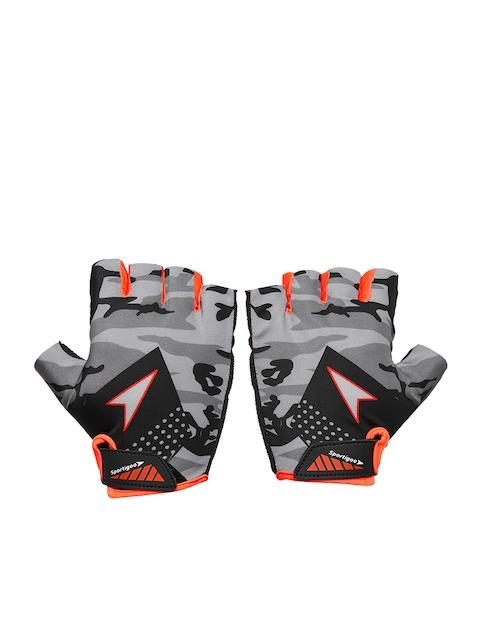 Sportigoo Men Grey & Orange CAMO Gym & Fitness Gloves
