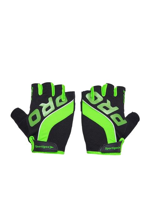 Sportigoo Men Black & Green PRO Gym & Fitness Gloves