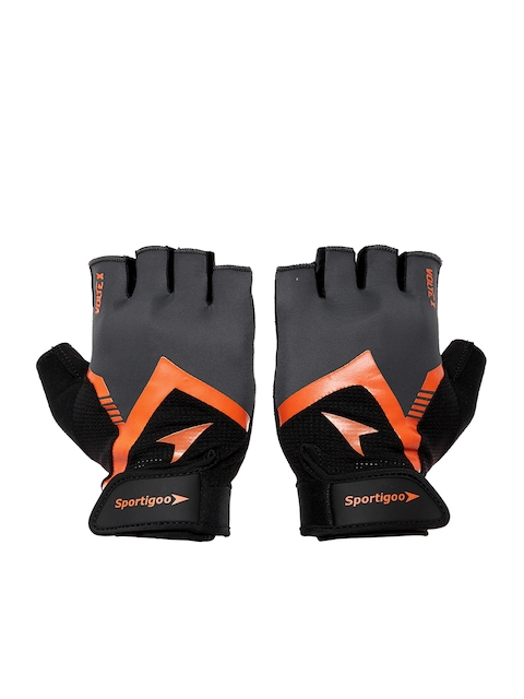 Sportigoo Men Grey & Orange Volte-X Gym & Fitness Gloves