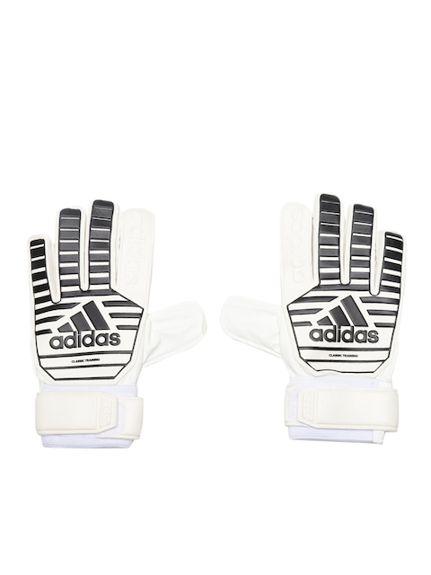 ADIDAS Unisex Off-White & Black Classic Training Striped Football Gloves