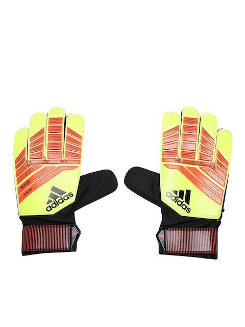 ADIDAS Kids Fluorescent Green & Orange Predator Football Gloves