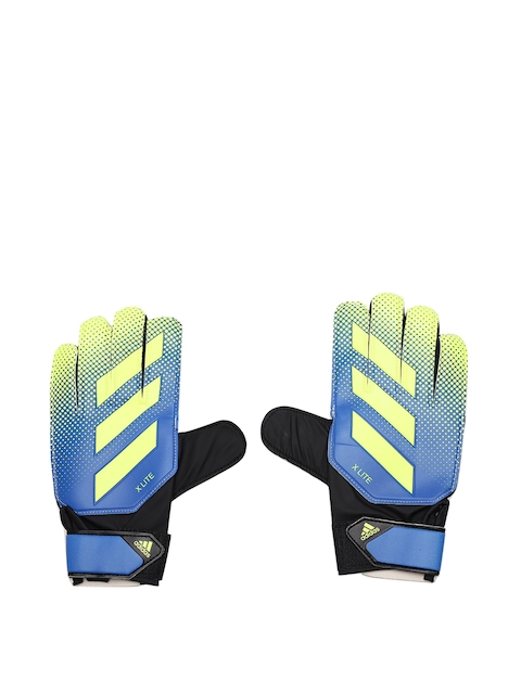 ADIDAS Unisex Blue & Fluorescent Green X Lite Printed Football Gloves