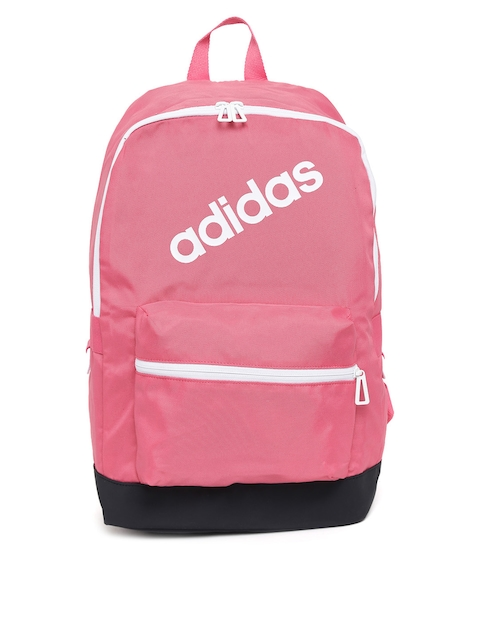 Adidas Men Pink Solid Daily Brand Logo Print Backpack