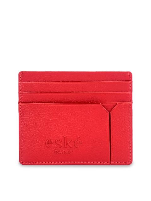 Eske Men Red Leather Solid Card Holder