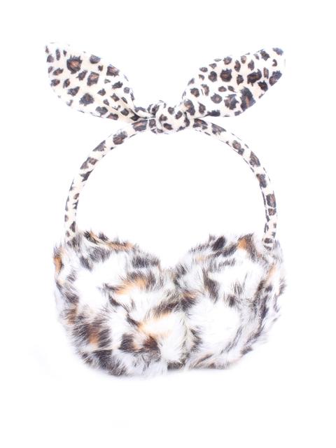 CUTECUMBER Girls Off-White & Brown Printed Faux Fur Ear Muffs With Bow Detail