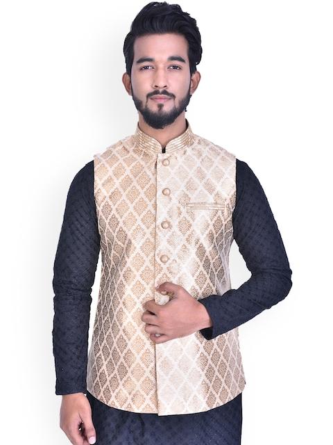 Manyavar Mens Beige Regular Fit Woven Design Nehru Jacket