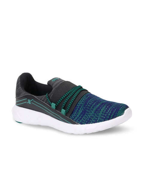 Sparx Women Blue & Green Woven Design Running Shoes