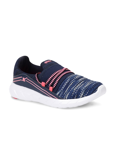 Sparx Women Navy Blue & Off-White Woven Design Running Shoes