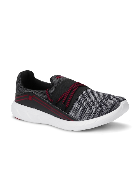 Sparx Women Black & Grey Woven Design Running Shoes