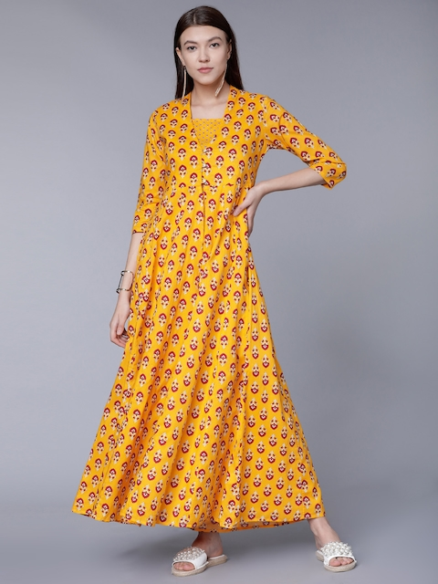 Vishudh Women Yellow Printed Maxi Dress with Anarkali Jacket
