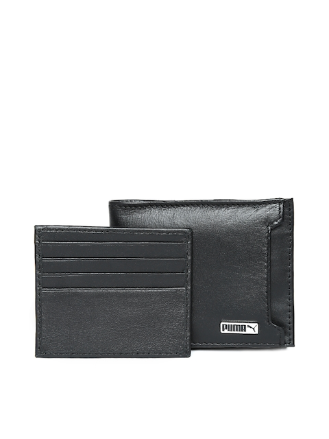 Puma Men Black Metal Cat Leather Solid Two Fold Wallet
