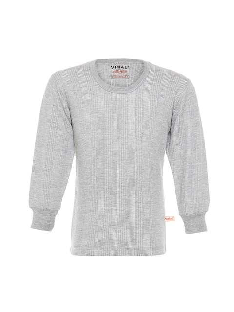 VIMAL JONNEY Girls Grey Melange Thermal Top