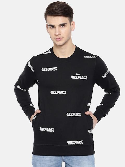People Men Black Printed Sweatshirt