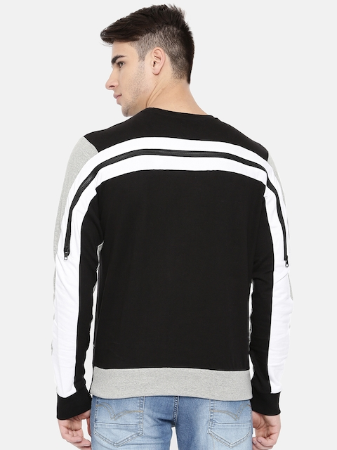 People Men Black & Grey Colourblocked Sweatshirt