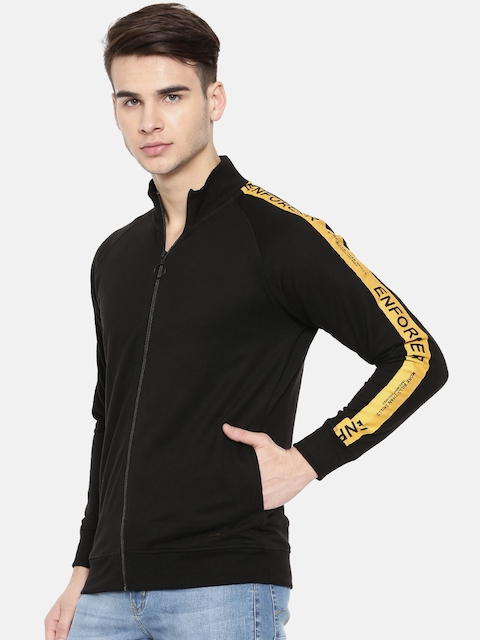 People Men Black Solid Sweatshirt