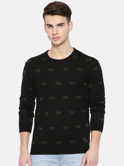 People Men Black Self Design Pullover