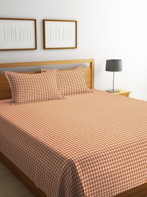 NEUDIS Orange & White Checked Cotton Double Bed Cover with 2 Pillow Covers