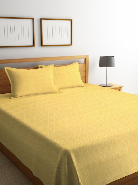 NEUDIS Yellow Geometric Cotton Double Bed Cover with 2 Pillow Covers