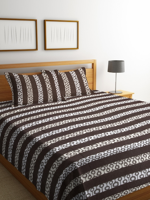 NEUDIS Brown & White Striped Cotton Double Bed Cover with 2 Pillow Covers