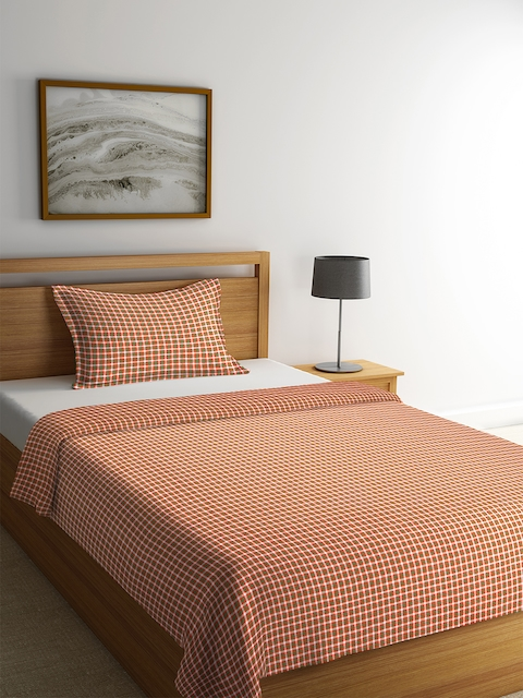 NEUDIS Orange & White Checked Cotton Single Bed Cover with Pillow Cover
