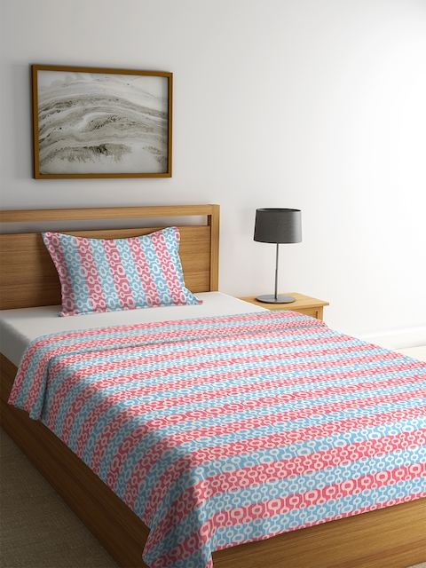 NEUDIS Red & Blue Striped Cotton Single Bed Cover with Pillow Cover