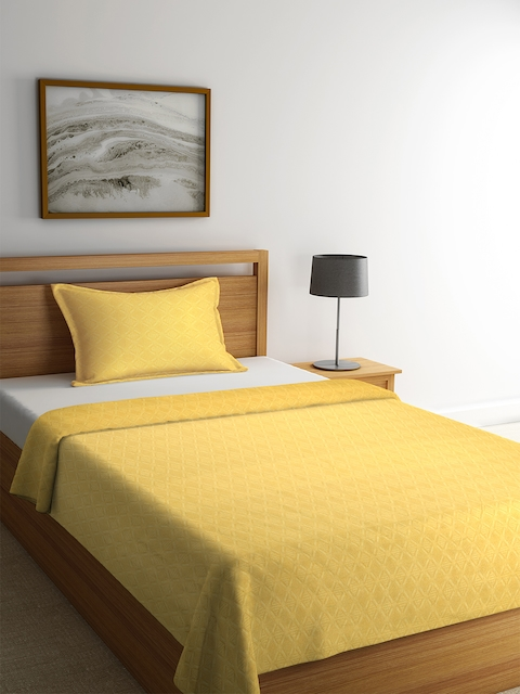 NEUDIS Yellow Geometric Cotton Single Bed Cover with Pillow Cover