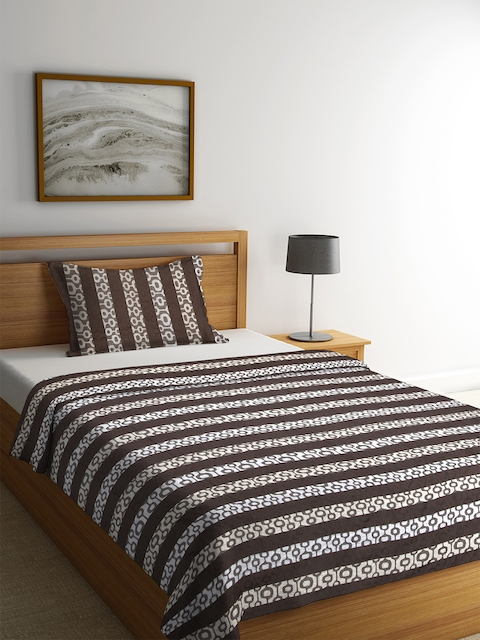 NEUDIS Brown & White Striped Cotton Single Bed Cover with Pillow Cover