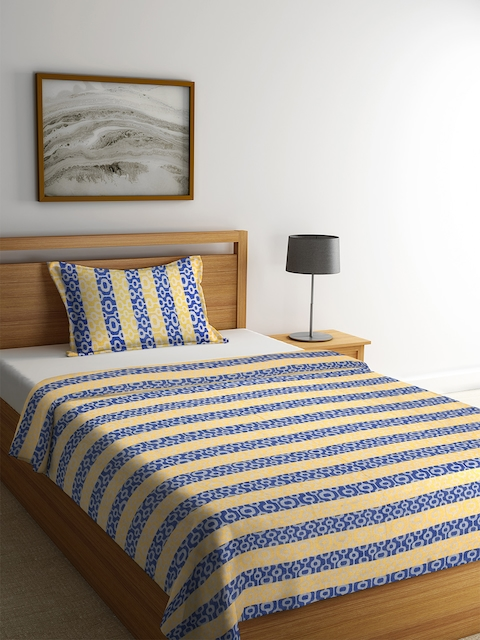 NEUDIS Yellow & Blue Striped Cotton Single Bed Cover with Pillow Cover