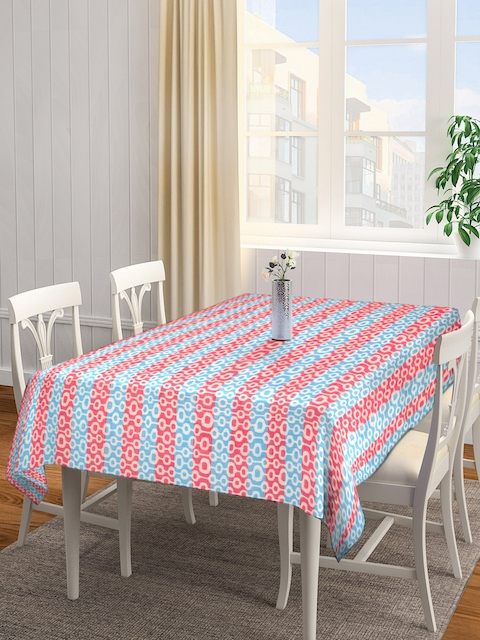 NEUDIS Red & Blue Jacquard Striped Hand Woven Cotton Rectangular Table Cover