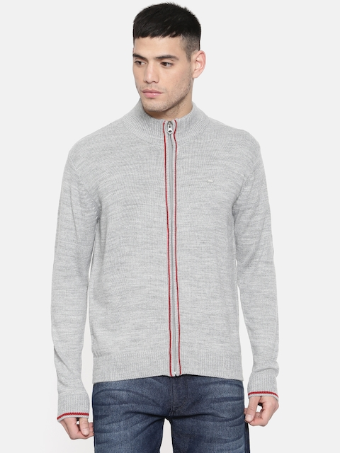 Lee Men Grey Melange Solid Cardigan