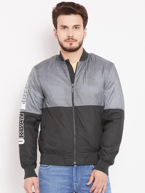 Lee Men Black & Grey Colourblocked Bomber Jacket