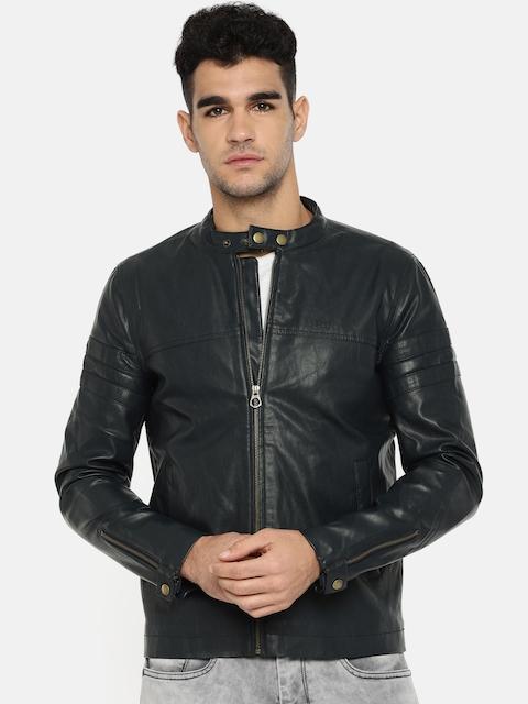 Lee Men Navy Blue Solid Faux Leather Jacket