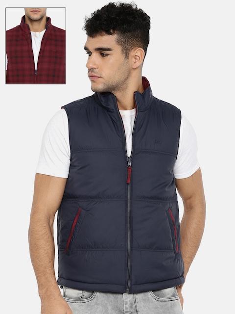 Lee Men Navy Blue & Maroon Solid Reversible Puffer Jacket