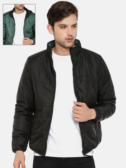 Lee Men Black & Green Solid Reversible Puffer Jacket