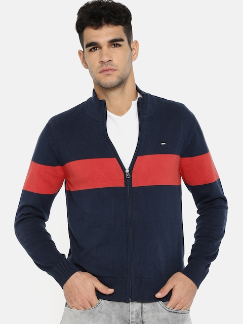 Lee Men Navy Blue & Red Self Design Front-Open