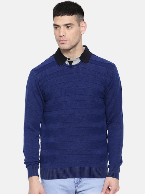 Lee Men Navy Blue Solid Pullover