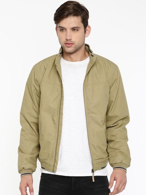 Lee Men Khaki Solid Bomber Jacket
