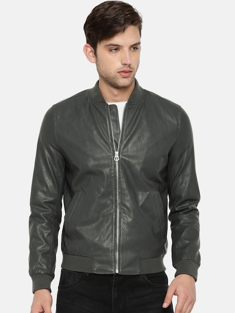 Lee Men Charcoal Grey Solid Faux Leather Bomber Jacket